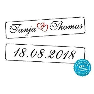 Original KFZ-Kennzeichen Hochzeit Autoschilder Hochzeitsschilder Hochzeitsschild Namensschilder mit Datum und Namen 0193-10