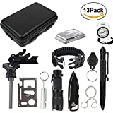 13 in 1 Emergency Survival Kits SOS First Aid Tool with Survival Bracelet,Tactical Pen,Compass,Folding Knife,Emergency Blankets,Wire Saw for Camping Hiking Hunting By Upstartech