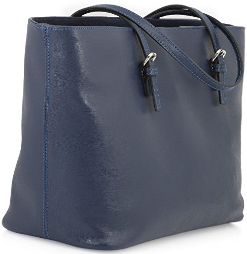 StilGut® Shopper, sac à main en cuir italien Bleu