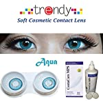 This contact lens in the display from the house of trendy comes in aqua color. Thoroughly wash and dry your hands with soap and a clean towel. Always clean, rinse and disinfect your lenses each time you remove them. Follow your eye care professional'...