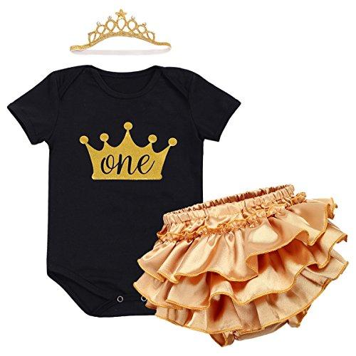 Baby Mädchen 1. Geburtstag Tutu Kleid Set Romper + Rock Tütü Pettiskirt Pumphose + Krone Stirnband Geschenk Säuglings Prinzessin 3 Stück Outfits Verkleidung Fotoshooting Kostüm Schwarz (Schwarz Zahnfee Kostüm)