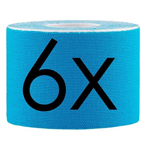 Lumaland Kinesiologie Tape elastisches Klebeband 5mx5cm in verschiedenen Farben Hellblau 6 Stück