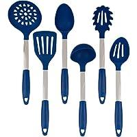Conjunto de utensilios de cocina Azul - Acero inoxidable y silicona Herramientas de cocina profesionales resistentes al calor - Espátula, cuchara mezcladora y ranurada, Cucharón, Servidor de horquilla de pasta, Escurridor