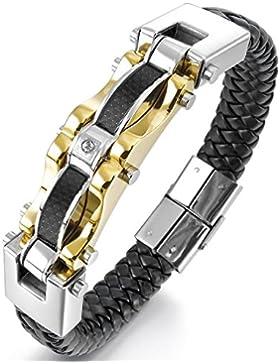 mendino Heavy Biker Carbon Faser Manschette Armreif geflochten schwarz silber gold Herren Leder Edelstahl Armband