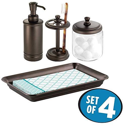 Mdesign set da 4 accessori per bagno – composto da dispenser sapone, portaspazzolino, barattolo con coperchio e vassoio portasciugamani – per mensole e piano del lavandino – bronzo/trasparente