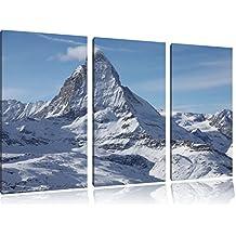 cime innevate in 3 pezzi immagine Foresta tela 120x80 su tela, Immagini XXL completamente incorniciato con grandi cornici di cuneo, stampe d