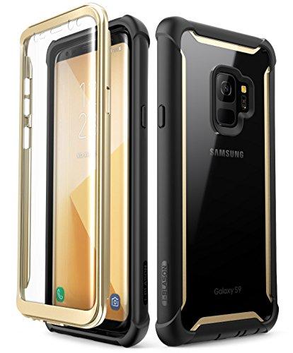 i-Blason Samsung Galaxy S9 Hülle, [Ares] Handyhülle Ganzkörper Robust Schutzhülle Bumper Case 360 Grad Clear Cover mit integriertem Displayschutz für Samsung Galaxy S9 2018, Schwarz/Gold