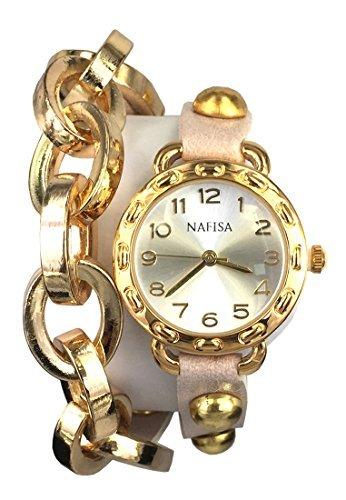 Wrap Watch Double (City nafīsa Frauen runden Zifferblatt Metall Kette/Leder mit Nieten Double Wrap Leder Strap Armbanduhr na-0026)