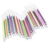 Meetory 48 farbige Gel-Tintenminen – Ersatzminen für Gelstifte, metallische Farben, 0,8 mm Spitzen