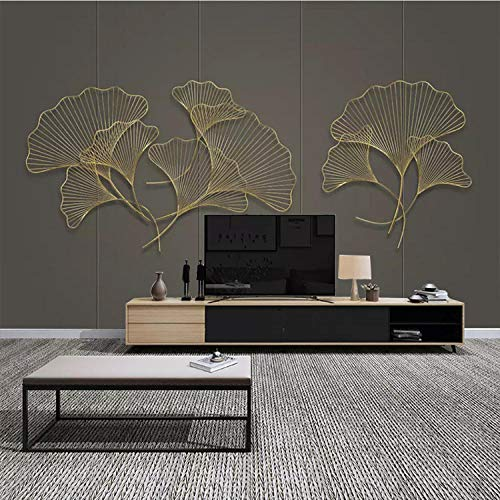 Ciondolo in ferro battuto decorazione della parete di casa foglia di ginkgo soggiorno imitazione ciondolo in ferro battuto tridimensionale carta da parati 3d fotomurali murale adesivo m-200cm×140cm