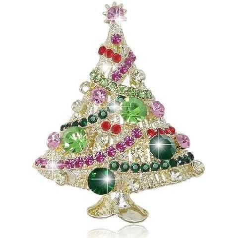 Ever Faith - Spilla a forma di albero di Natale, con cristallo