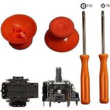 eJiasu 2 piezas 3D Joystick mando inalámbrico Rocker + T8/T10 de herramientas destornilladores + 2 Piezas de repuesto Piezas thumbsticks para el regulador de Xbox Uno (Un conjunto naranja)
