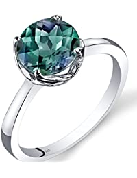 Revoni 14ct White Gold Created Alexandrite Solitaire Ring 2.25 Carat Checkerboard Cut