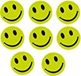 8 neongelbe Reflektoren Smiley reflektierende gelbe Aufkleber für Rucksack Schulranzen Schultaschen Jacken (Aufkleber)