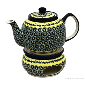Boleslawiec Pottery Teapot 1.0 L with Warmer, Original Bunzlauer Keramik, Decor DU1