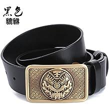 027a12913 Sucastle Cinturón Hombre de La primera capa de cuero, Hebilla lisa, Ancho:  38mm