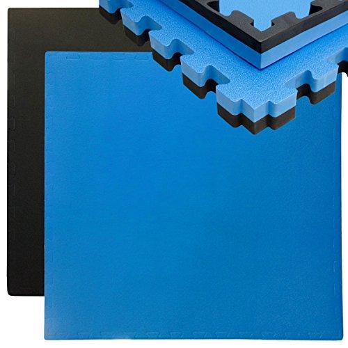 Eyepower Suelo de Gimnasio de EVA Espeso 40mm Esterilla Puzle 90x90cm Incl Marco para Deporte Ejercicio Extensible Doble faz Negro Azul