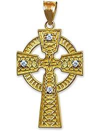 Kleine Schätze - 10 Karat Gold keltisch Kreuz Diamant- Anhänger Halskette (Kommt mit einem 45 cm Kette)