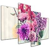 Kunstdruck Reproduktion - Blumen in einer Vase - Bild auf Leinwand 120 x 80 cm vierteilig - Leinwandbilder - Bilder als Leinwanddruck - Wandbild von Bilderdepot24 - Pflanzen & Blumen - Stillleben - Malerei - rote und violette Blumen