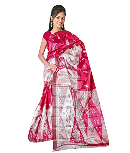 Umang Trendz Women's MultiColour Printed Art Silk Saree Without Blouse  available at amazon for Rs.175
