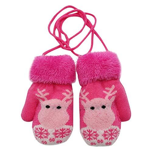 Happy Event Kleinkind Baby Winter Weihnachtskarikatur Rotwild SAMT Gestrickte Handschuhe (Pink)