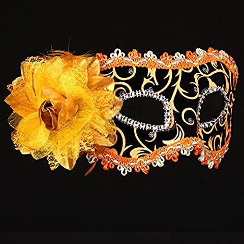 Halloween Mask Make-Up Dance Show Painted Party Plume Beauty Princess Masques,Orange