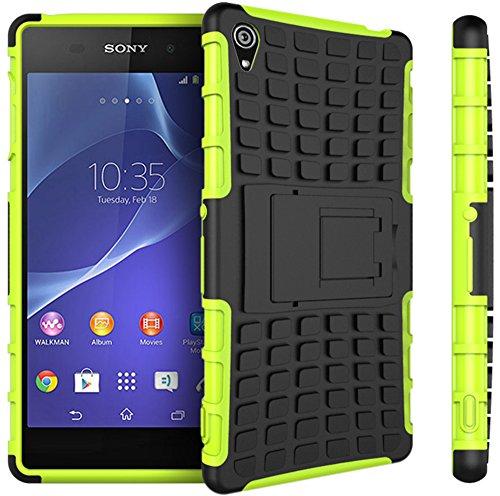 Preisvergleich Produktbild Nnopbeclik Sony Xperia Z3 Hülle,  Dual Layer Rugged Armor stoßfest Handy Schutzhülle Silikon Tasche für Sony Xperia Z3 - Grün + 1x Display Schutzfolie Folie