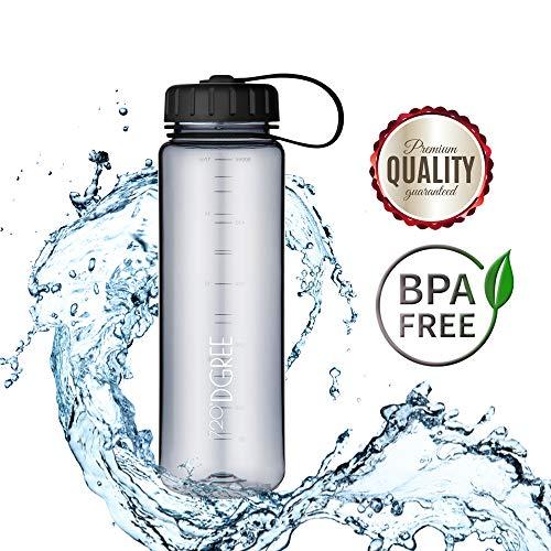 720°DGREE Trinkflasche simplBottle - 0,5l, 500ml, Grau | Wasserflasche aus Tritan | Auslaufsichere Flasche mit Weithals für Kinder, Sport, Gym, Outdoor | Perfekte Sportflasche - BPA Frei -