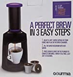 Gourmia GKCP135 Manual Coffee Brewer Single Serve K-Cup Manual Hand French Press Coffee Maker -Brew Coffee Anywhere -Purple