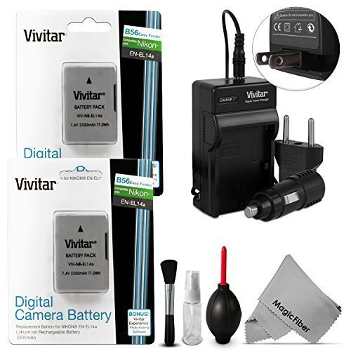 (2 Pack) EN-EL14 / EN-EL14a Battery and Charger Kit for NIKON DSLR D5300 D5200 D5100 D3300 D3200 D3100 COOLPIX P7800 P7700 P7100 P7000 Nikon DF Cameras - Includes: 2 Vivitar Ultra High Capacity Rechargeable 2300mAh Li-ion Batteries + AC/DC Vivitar Rapid Travel Charger + Cleaning Kit + MagicFiber Microfiber Lens Cleaning Cloth  available at amazon for Rs.4682