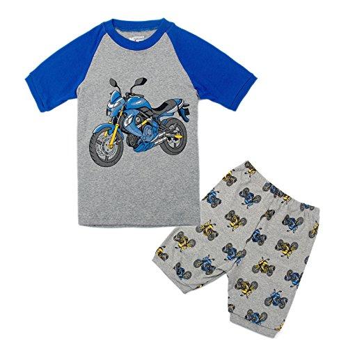 Wenig Jungen Pyjama Sets Kurzarm Motorrad Kinder Pjs Kinder 2 Stück Nachtwäsche Größe 7 Jahre 100% Baumwolle (2 Stück Jungen Pjs)