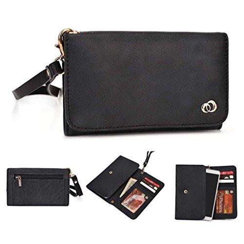 Kroo Pochette Housse Téléphone Portable en cuir véritable pour Acer Liquid Z520 violet noir