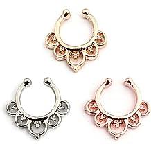 3 piezas Falso anillo de nariz de Septum Faux Oro Plata Rose Oro no Piercing Body Jewelry