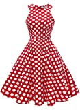 MUADRESS 1950 Vintage 1950 Kleid mit Taschen Retro Rockabilly Cocktailkleider Faltenrock Rot Große Weiß Punkte M