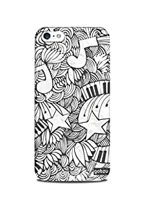 Gobzu Printed Hard Case Back Cover for iPhone 5S - Floral Notes