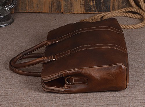 Handmade Mens Classic Vegetable Tanned Genuine Leather Briefcase 12 Laptop Bag Dark Brown
