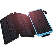 Hiluckey Solar Ladegerät 10000mAh 3 Solarzelle-Dual USB Hohe Energie -Transformation Tragbare Power Bank wasserdicht Externe Akku mit Lumière LED pour iPhone, iPad,Samsung, HTC,LG,Android ,Bluetooth,usw