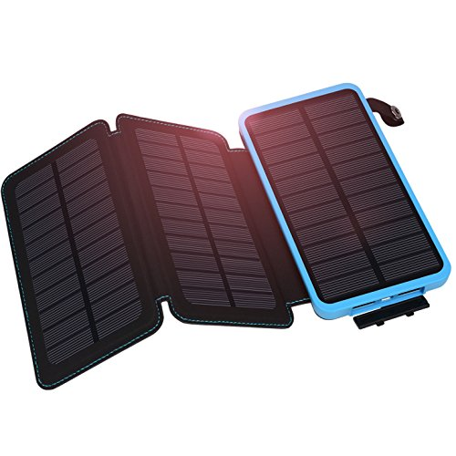 Hiluckey Caricabatterie Solare 10000 mAh Portatile Power Bank 3 Pannello impermeabile Batteria Backup LED per Attività all'Aperto per iPhone6 7/Plus,iPad, Samsung Galaxy,Smartphone. ecc