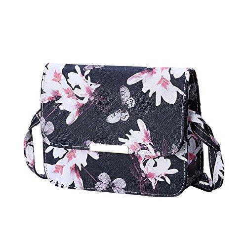 Frauen-Schmetterlings-Druck Blumenschultertasche Aus Leder Satchel Handtasche Black