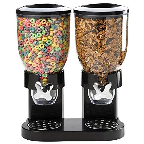 Dispensador de Cereal Color Negro, recipiente de plástico, con dos capacidades de 3,5 litros (Aproximadamente 500g) XD Panda