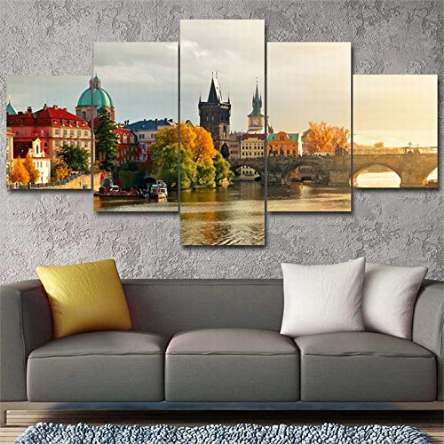 Lona 5 Piezas Arte Moderno De La Pared Fotos Puente Ruso Cartel del Paisaje Estampados para Vivir Decoración del Hogar Habitación,A,30×50×230×70×230×80×1