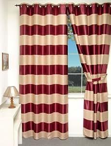 rideau oeillets occultant bicolore ecru bordeaux 135 x 260 cms cuisine maison. Black Bedroom Furniture Sets. Home Design Ideas