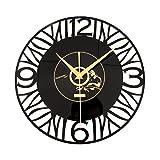 Jia He Wanduhr Retro Wanduhren Schallplatte - Schlafzimmer Dekoration stumm Wanduhr/schwarz Halterung Uhr (Farbe : A)