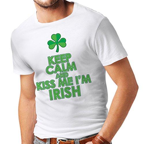 Patron Kostüm Saints - Männer T-Shirt Kiss me I'm Irish, Saint Patrick Day Jokes Quotes Shirts (XX-Large Weiß Mehrfarben)