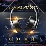 Gaming Headset with Omnidirectional Microphone, Noise Reduction and Volume Control for PS4 Xbox One, 3.5mm Stereo USB LED Headphones, Head-Mounted RGB Gaming Headphones for Computer Laptops Mac Playstation 4