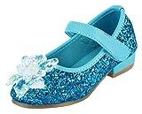 Eozy Kinder Mädchen Prinzessin Schuhe mit Absatz Glitzer Party Ballerinas Schuhe Blau 29EU