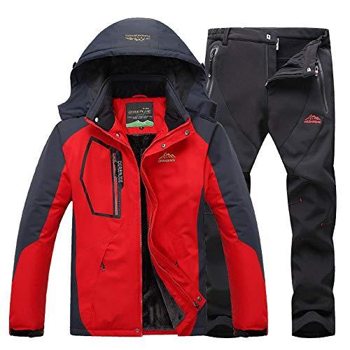 SNHXUE Completo da Sci da Uomo Giacca da Sci Invernale da Sci Sportiva Set di Pantaloni da Sci Addensati in Velluto Red(1)-L
