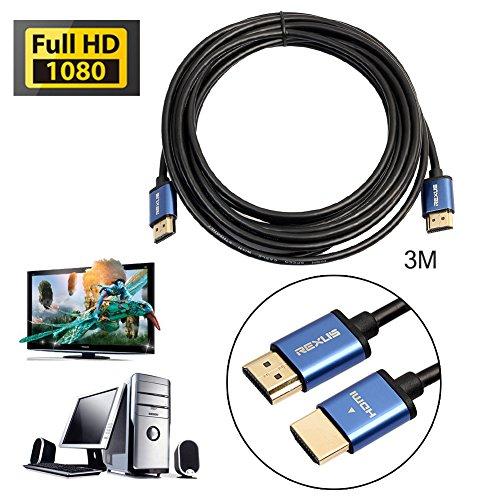 asiproper High Speed Aluminium HDMI-Stecker zu HDMI-Kabel 1080p, 3d, HD-1-15m 3M silber 4 Line-intercom