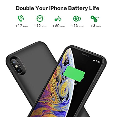 Cover Batteria iPhone X/XS, iPosible 6500mAh Custodia Ricaricabile con Batteria Esterna Caricabatterie Cover Battery Case per Apple iPhone X/XS ...