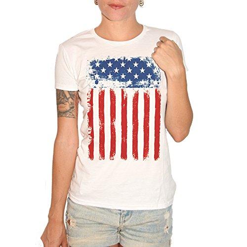 T-shirt drapeau états-unis amérique usa–by Brain Factory blanc